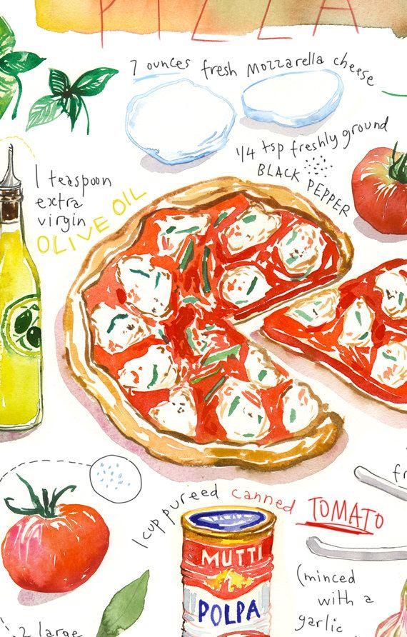 Pizza recipe print, Food poster, Kitchen art, Ital