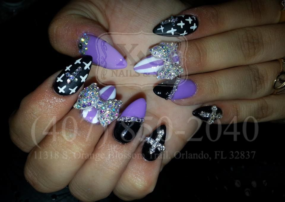 Nails with Crosses, Bows, Diamonds, & Chains Nail Design on Stiletto ...