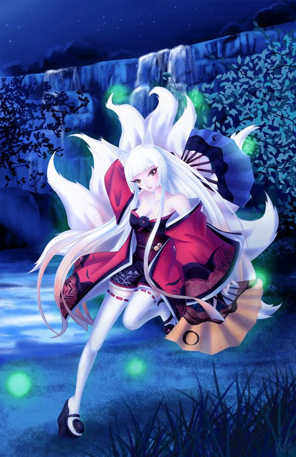 white nine tailed kitsune girl - Google Search | Perfect ...