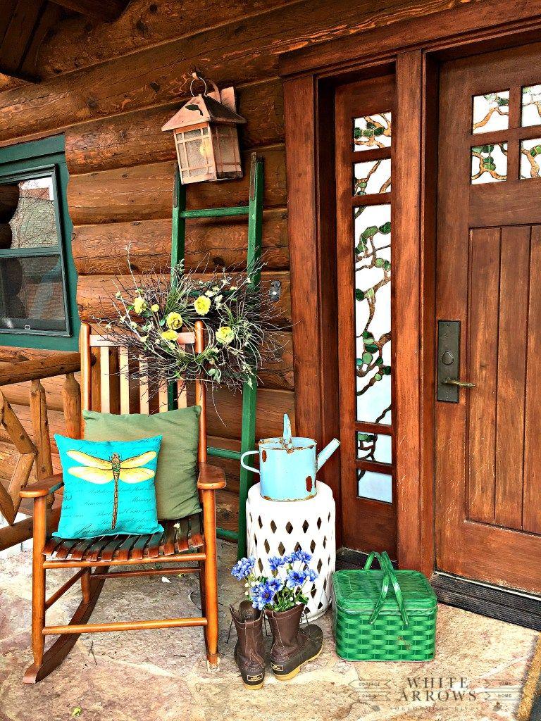 Vintage Green Pieces To Brighten Spring Decor Porch Decorating Decor House With Porch