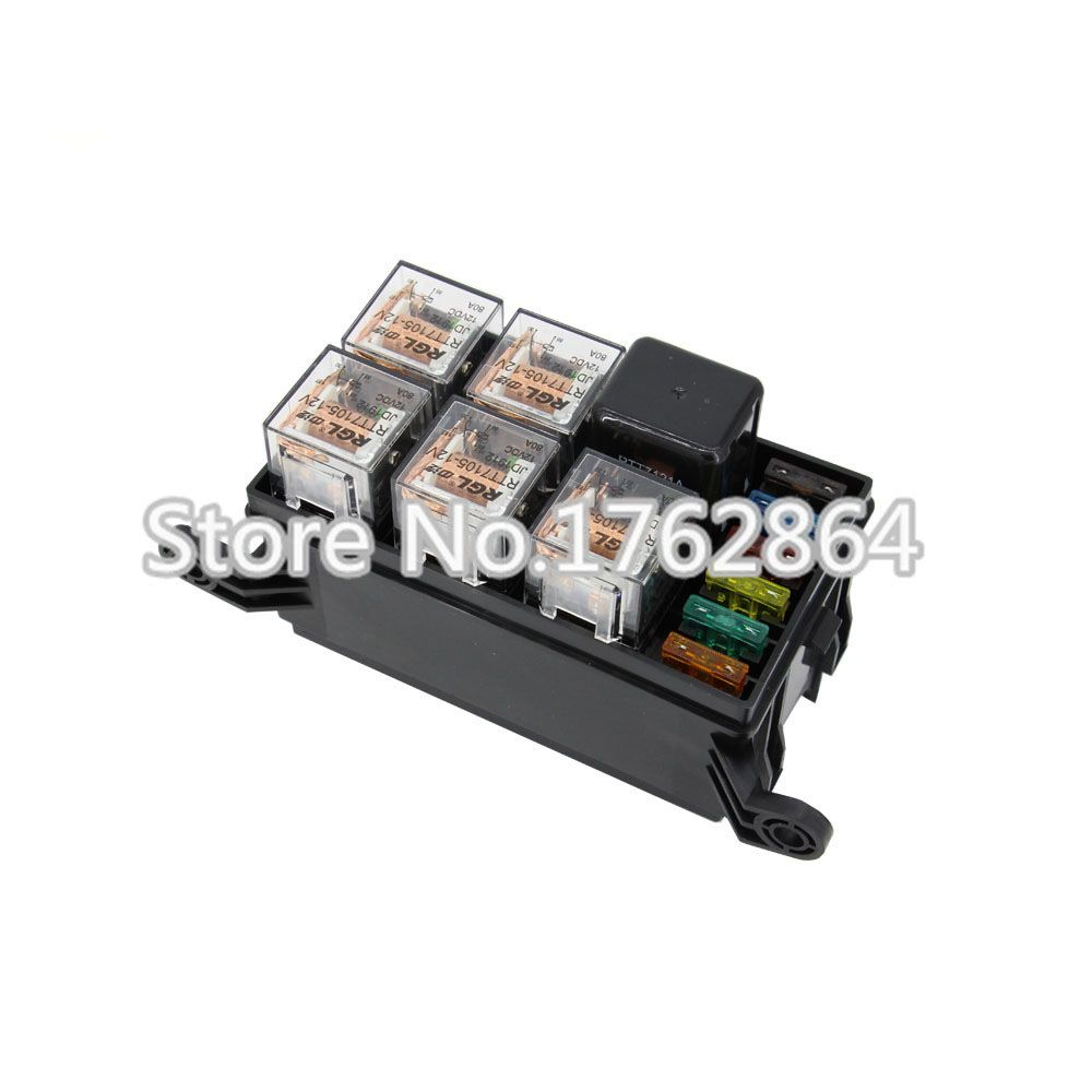 hight resolution of 6 way auto fuse box assembly with 4pin 12v 40a 5pcs 5pin 24v 40a relay and fuses auto car insurance tablets mounting fuse box