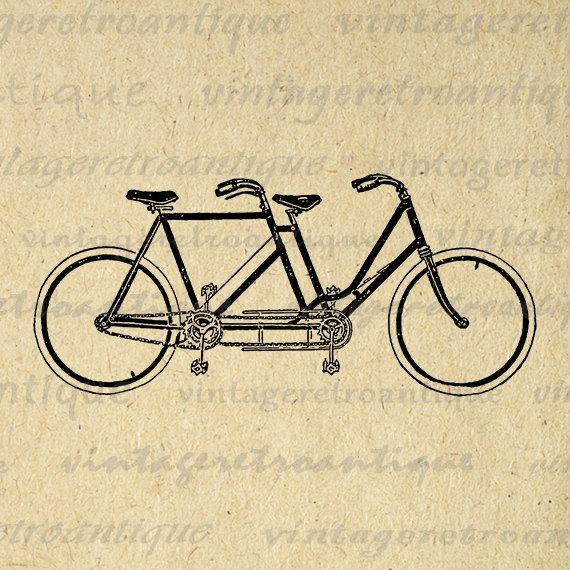 Digital Printable Vintage Tandem Bicycle by VintageRetroAntique ...