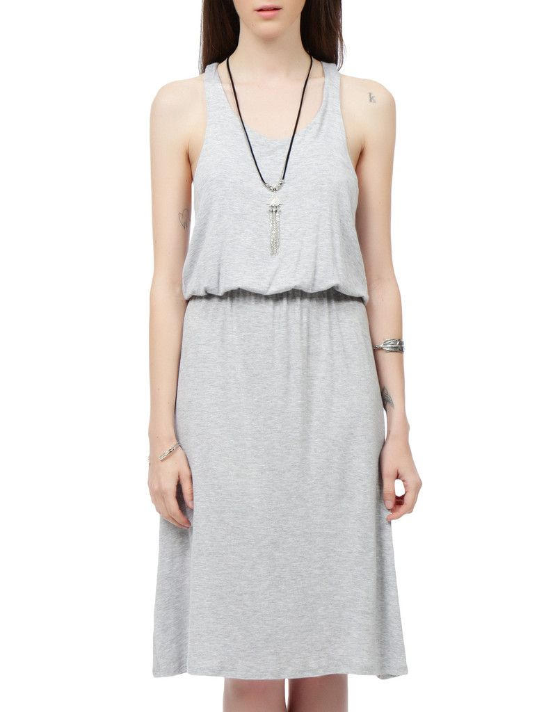 Leno womens rayon racerback knee length dress with elastic