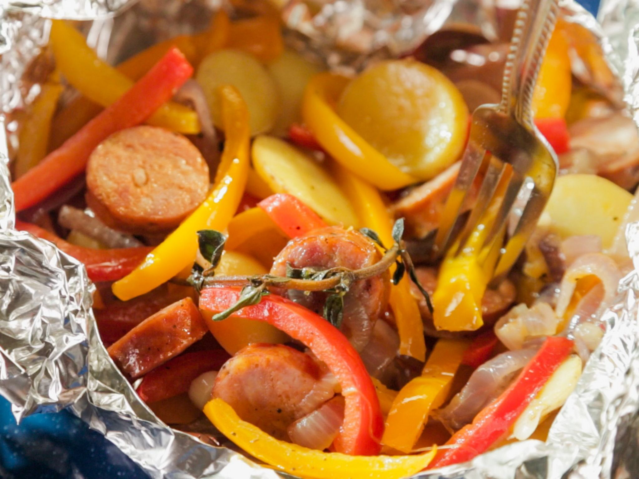 Andouille Sausage And Pepper Pouch Recipe Food Network Recipes Stuffed Peppers Campfire Food