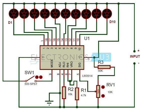 battery level indicator circuit using lm3914 electronic projectsthis is a simple battery charge level indicator circuit and is very useful to calibrate inverter status, to measure car battery level, etc