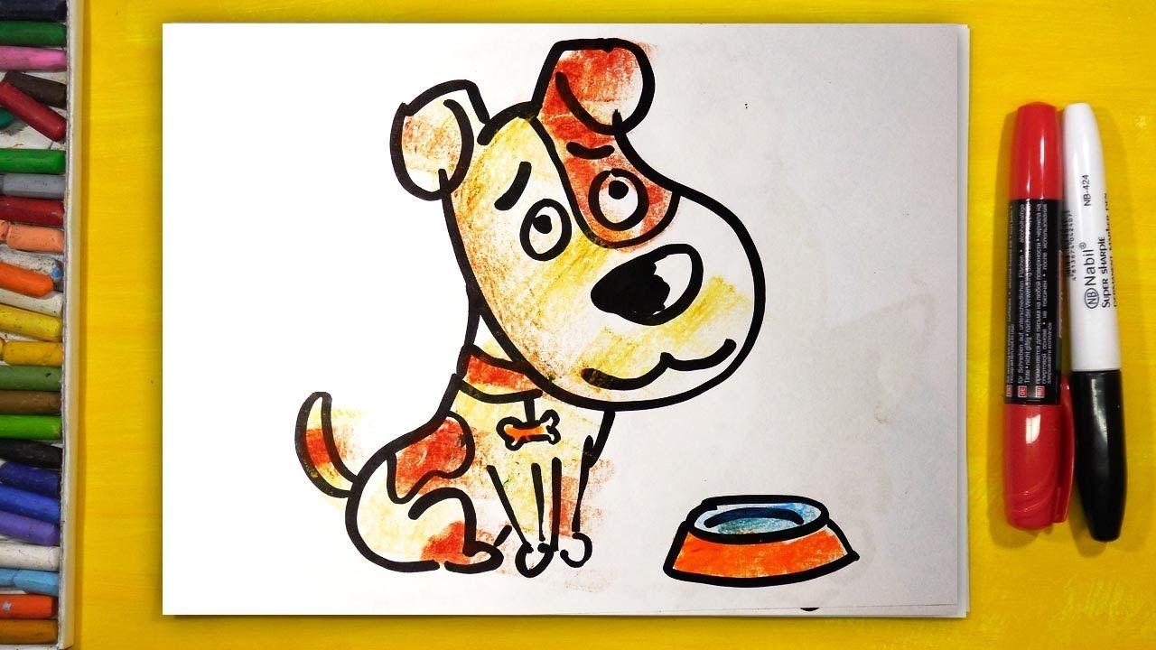 Как нарисовать СОБАКУ, Урок рисования для детей от 3 лет ...