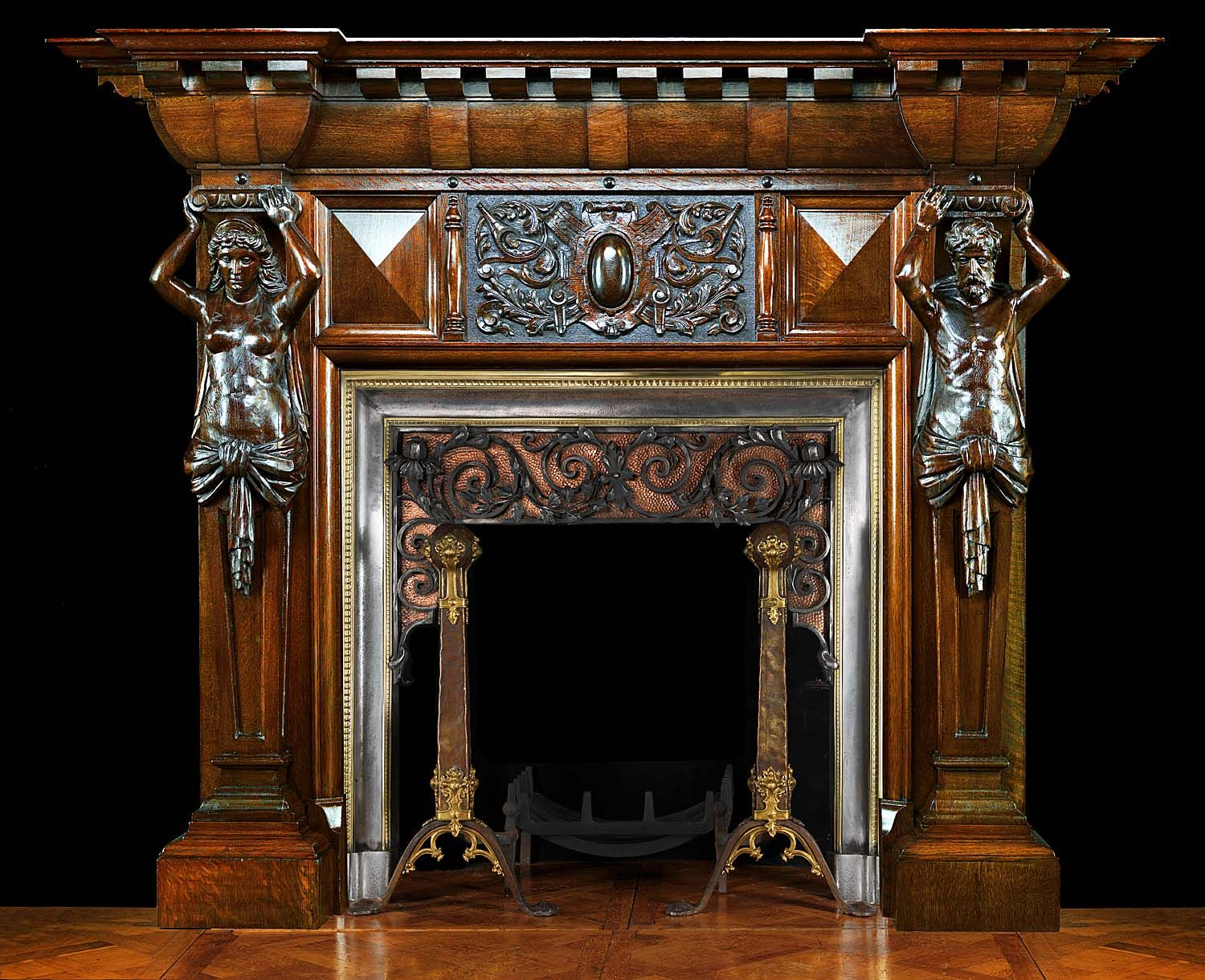 big antique fireplace