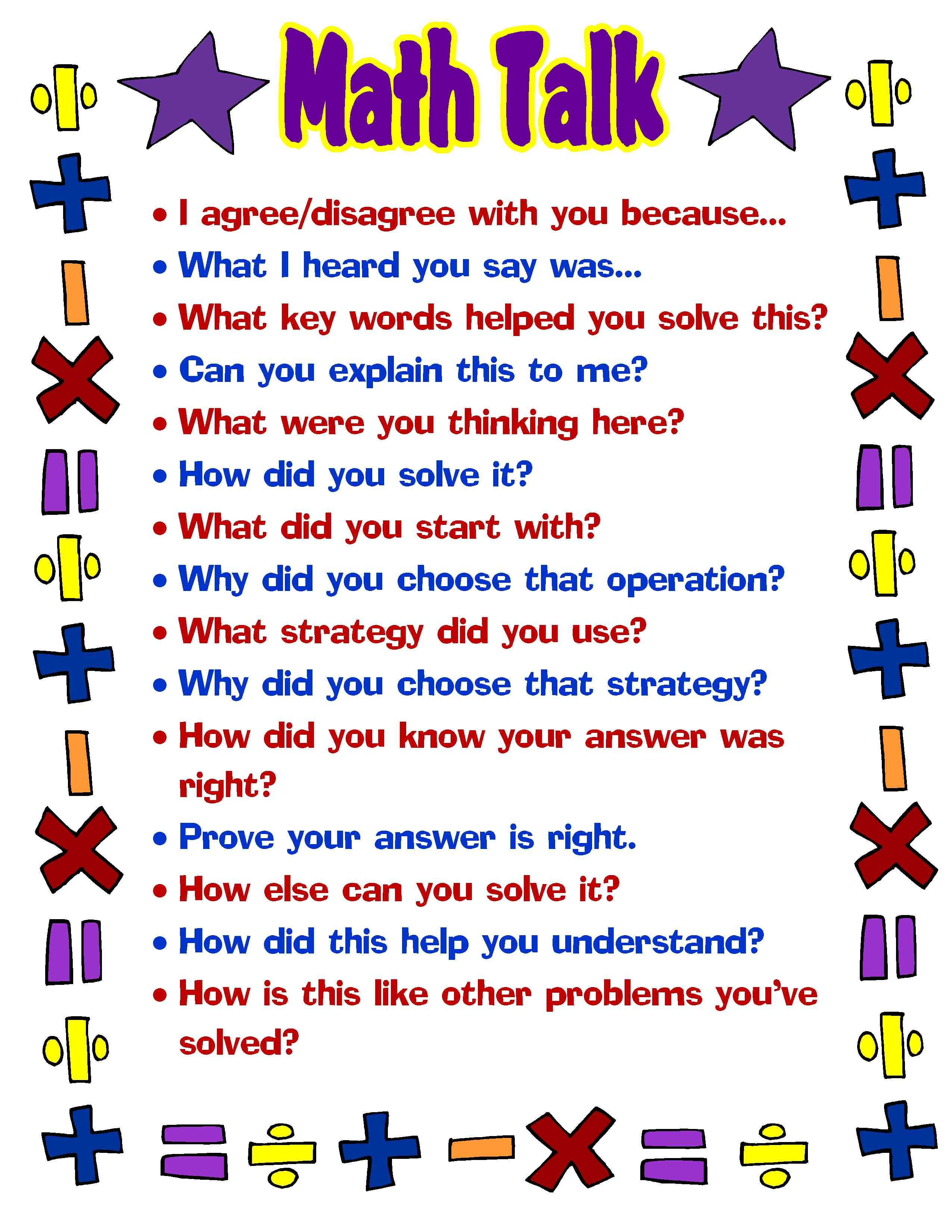 free printable math talk poster great for students and teachers rh pinterest com Free Classroom Posters for Math Printable Math Posters for Teachers