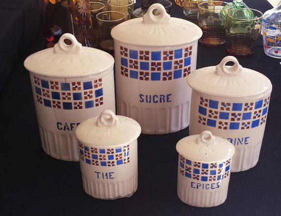 Shabby chic art-deco, France, 5 lidded storage jars from the 1930s ...