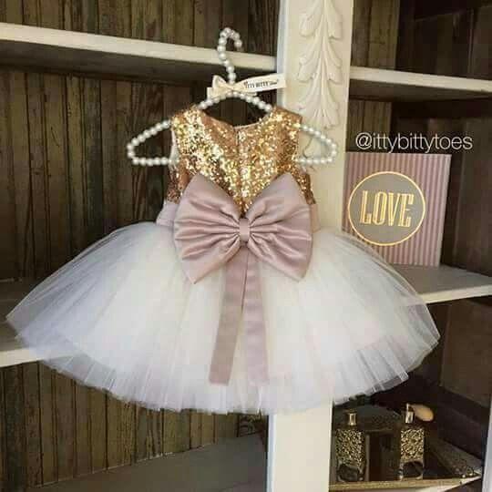 Blancodorado Y Arena Vestidos Bonitos Para Niña Vestidos