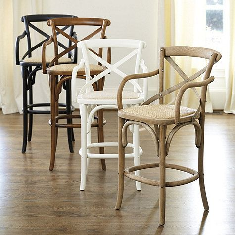 Constance Wood Counter Stool With Arms Ballard Designs