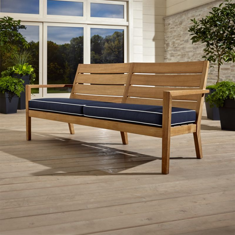 Regatta Sofa With Sunbrella Cushion Crate And Barrel Outdoor Wood Furniture Natural Sofas Outdoor Furniture Cushions