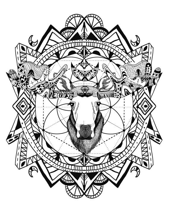 Boho Moose With Sacred Geometry