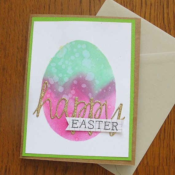 Happy Easter Watercolor Card Modern Fresh Design Perfect For A