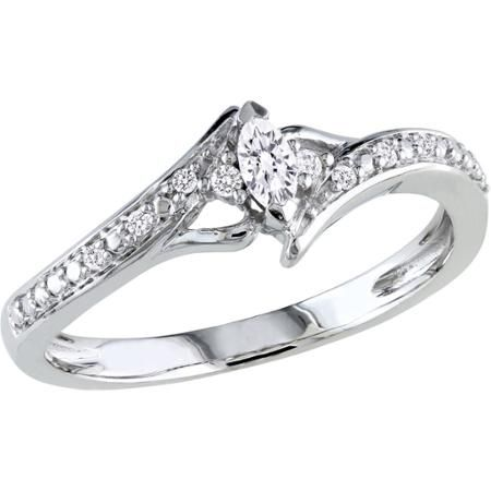 Miabella 1/6 Carat T.W. Marquise and Round-Cut Diamond 10kt White Gold Bypass Engagement Ring