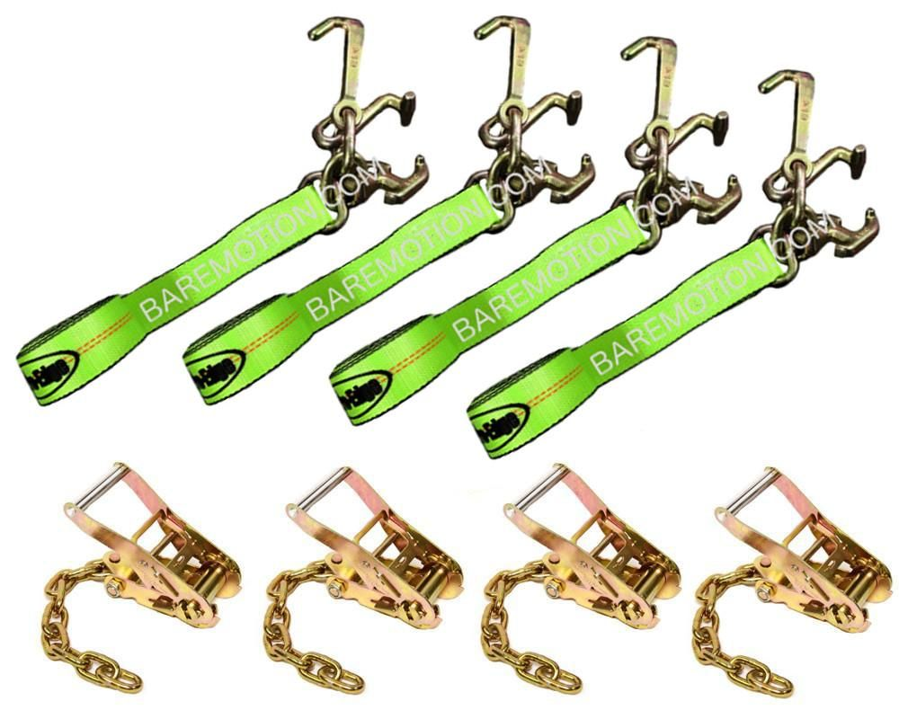 8' Cluster RTJ HiViz Straps & Chain Ratchets Tie Down Kit