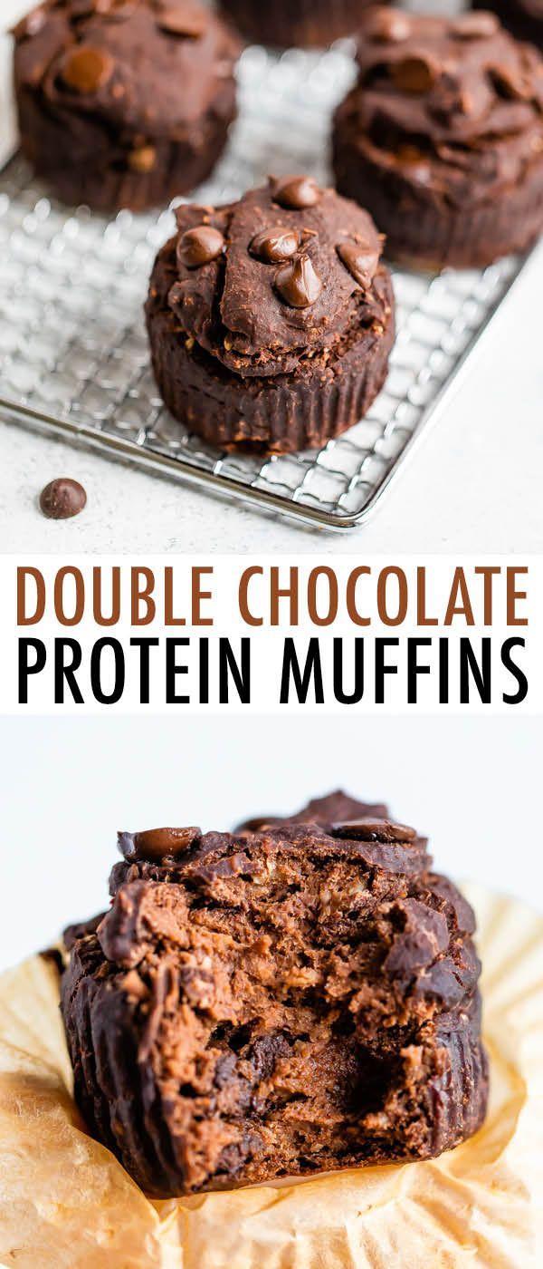 Double Chocolate Protein Muffins (vegan + gluten-free)
