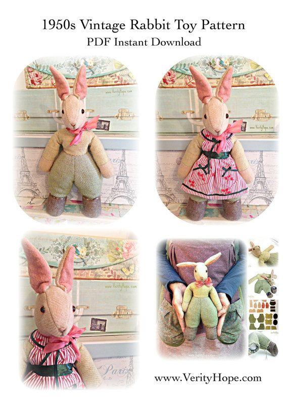 1950s\'s vintage toy bunny rabbit pattern / pdf / digitel/ download ...