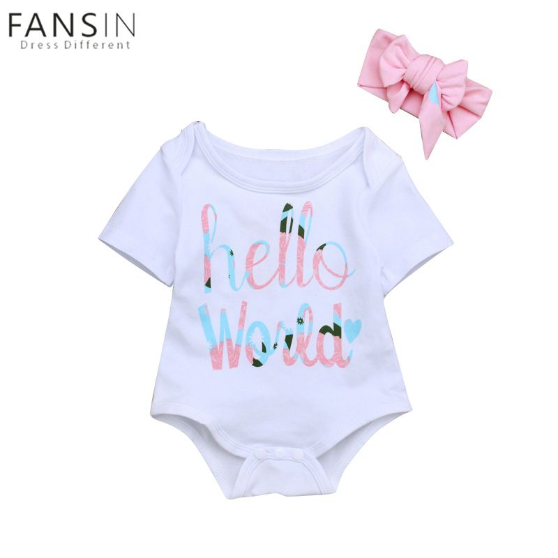 fc3f32707578 Baby Kids Girl Rompers Clothing Infant Short Sleeves Hello World ...