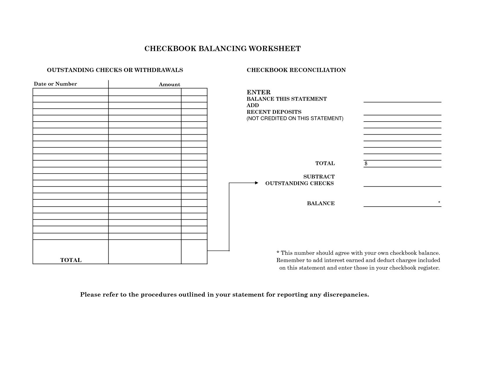 Checkbook Reconciliation Practice Worksheets Best Photos