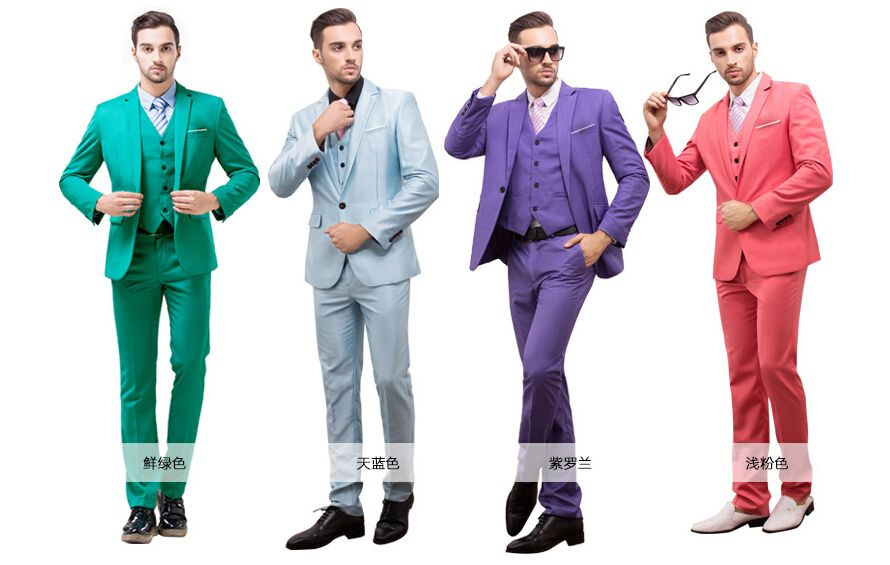 S-4XL 7 colors jacket+vest+pant free shipping2015men business suit ...