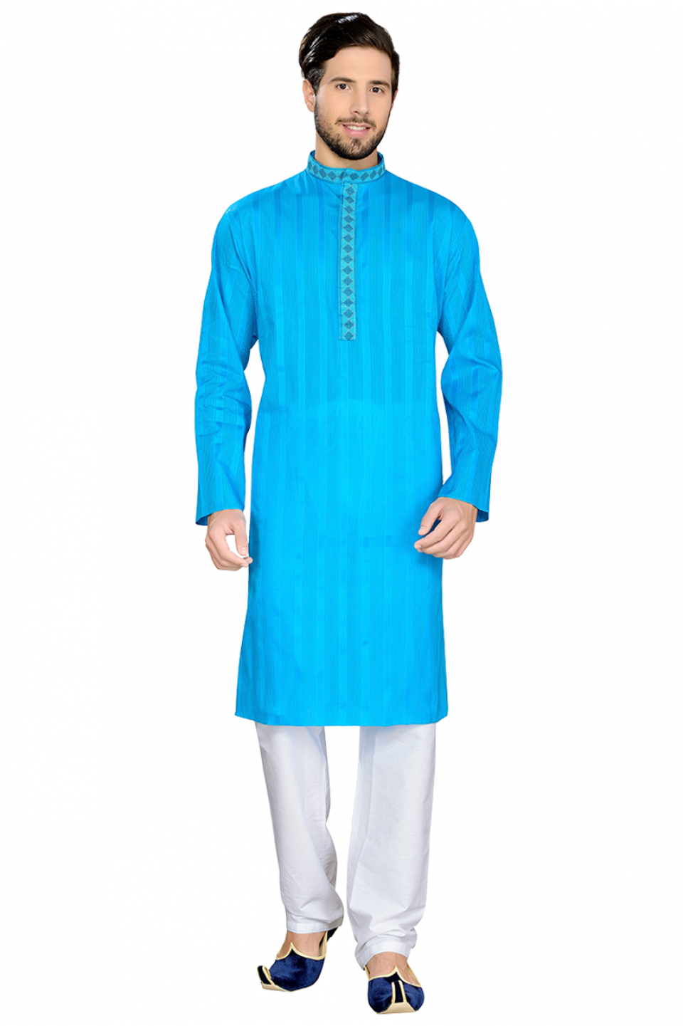 Blue Cotton Striped Kurta - Princely Blue Collection | S&B Wedding ...