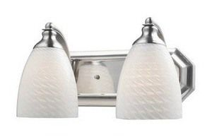 Photo of Mix-N-Match – Two light bathroom vanities A19 Medium Base WTS: White SwirlSatin nickel finish with yellow glass