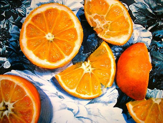 Still Life With Blue And White Chintz By Janis Zroback  Oranges