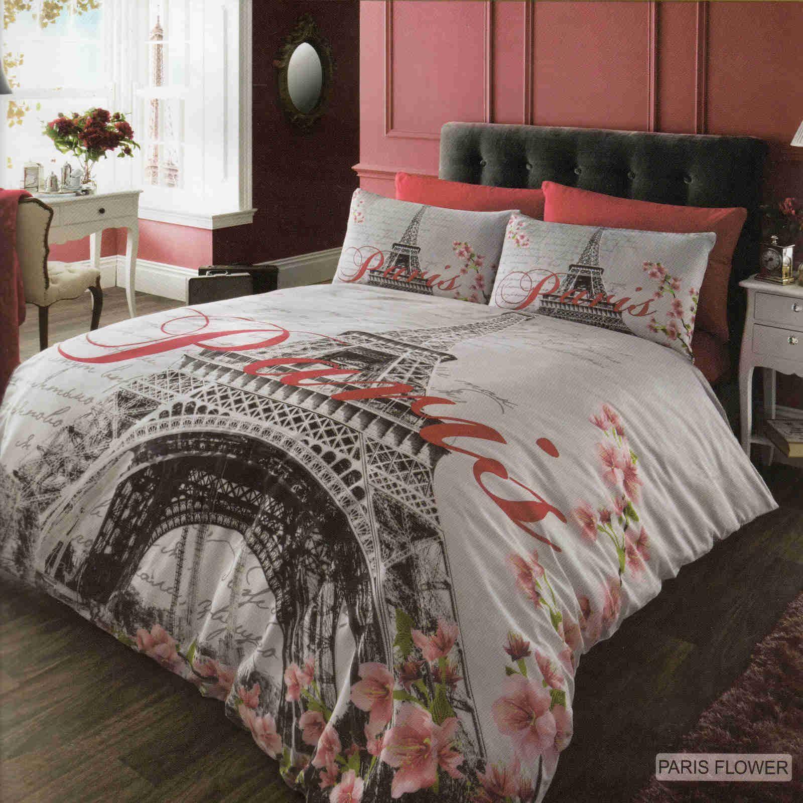 Details about Paris Flower Duvet Cover Quilt Cover Bedding