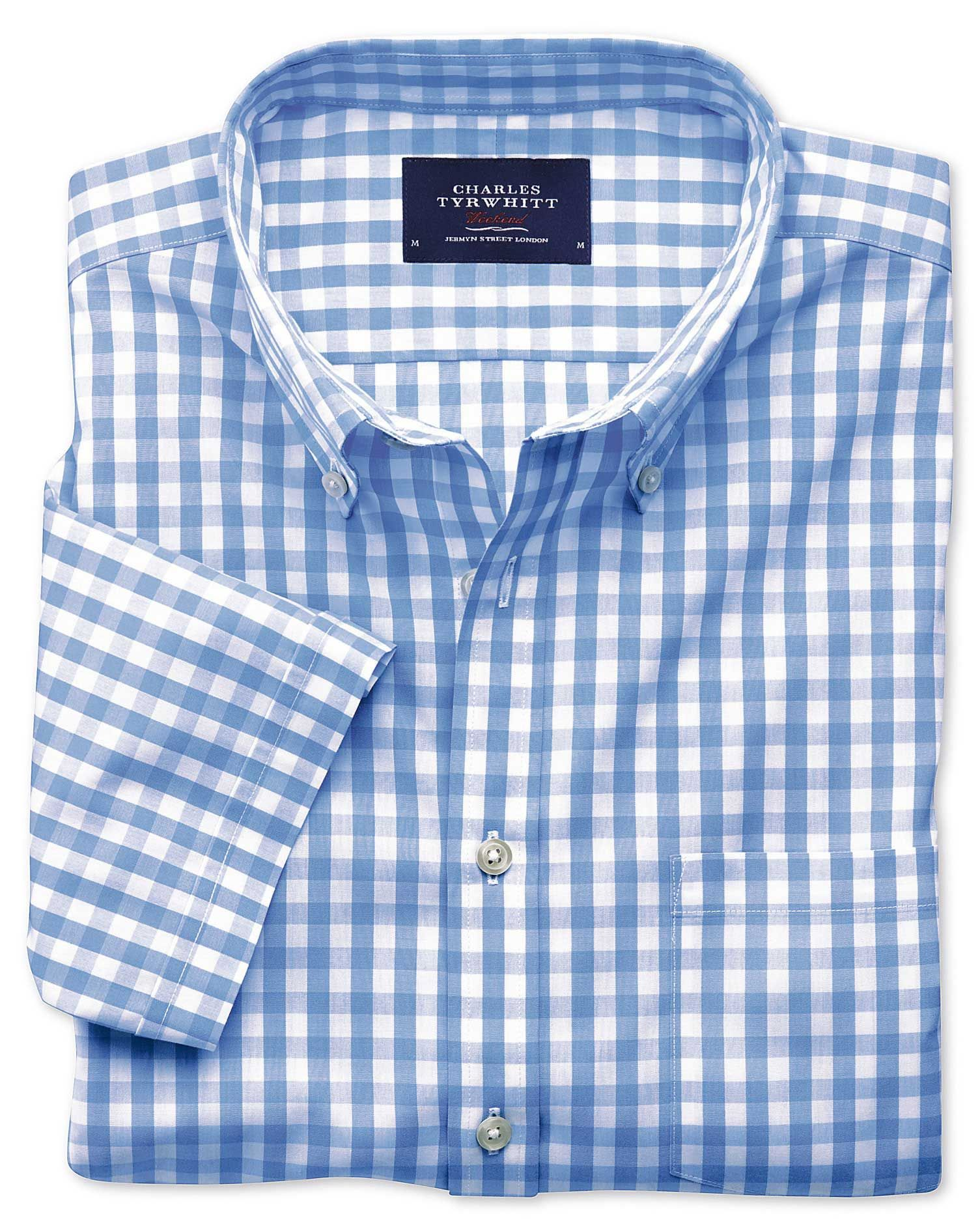 ddb5d9c96 Slim fit button-down non-iron poplin short sleeve sky blue gingham ...