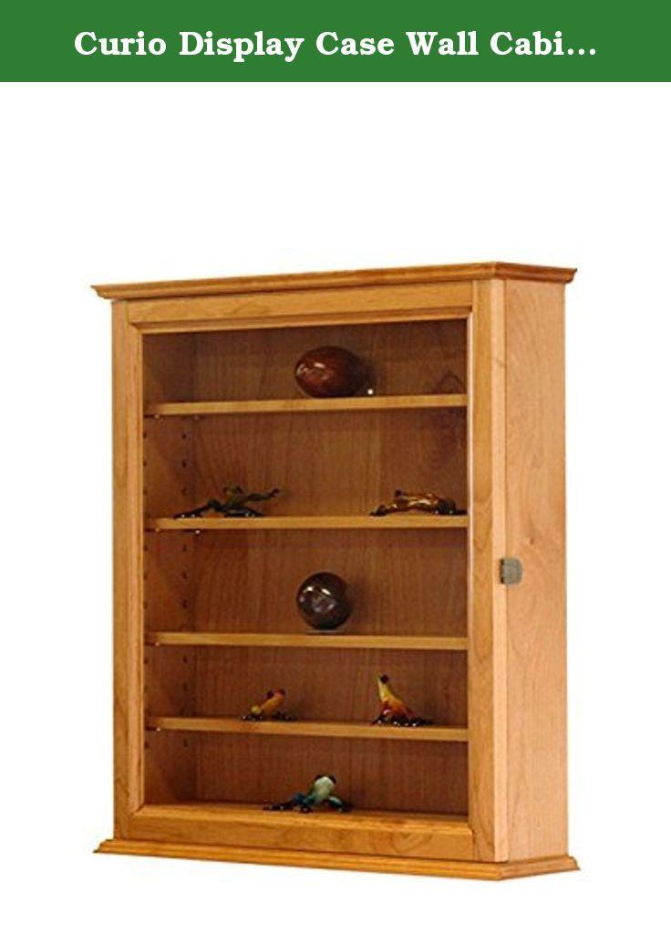 Curio Display Case Wall Cabinet 5 Adjustable Shelves Alder Hardwood