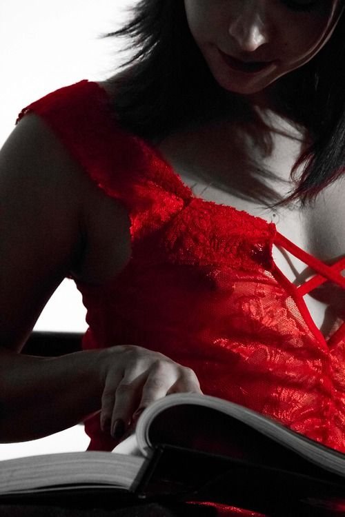 Montse in red