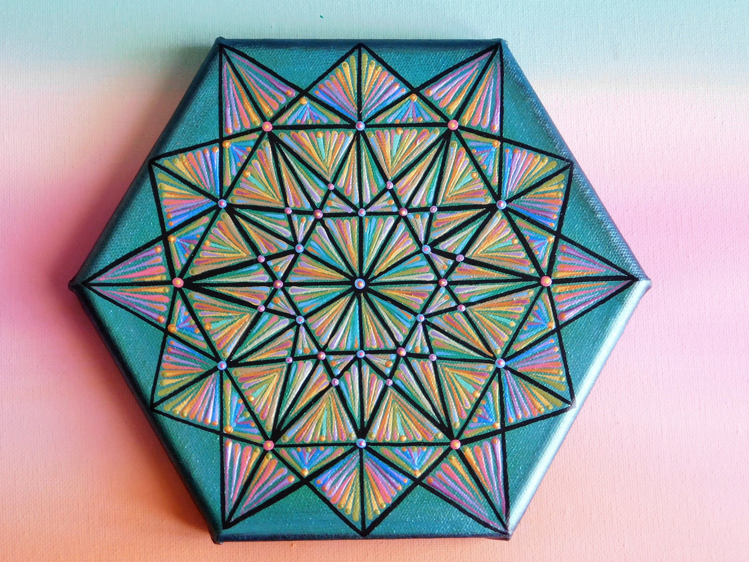 Hex wall art sacred geometry  free shipping