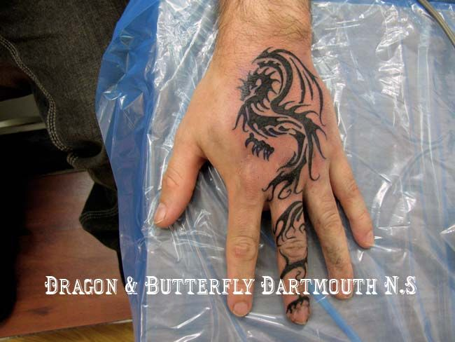 Dragon And Butterfly Dragon On Hand Tattoo 043 Hand Tattoos Dragon Hand Tattoo Tattoos