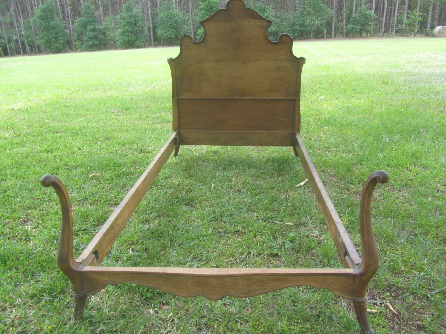 Antique twin bed, wood bed, ornate headboard, farmhouse