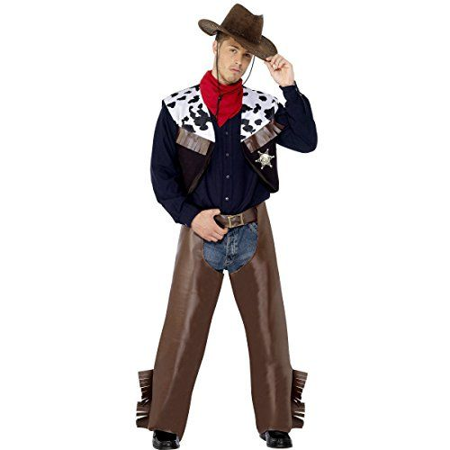 79e239baa8e Smiffys Mens Cowboy Costume with Waistcoat Chaps Scarf and Badge Multi  Large    You can find more details by visiting the image link.