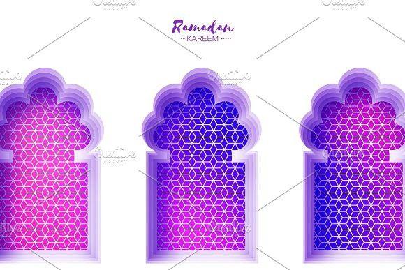 Arabic Window Arch In Paper Cut Style Origami Ramadan Kareem Greeting Cards Arabesque Pattern
