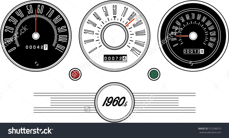 Vintage Car Speedometer 1960s - Illustration - 512298373 ...