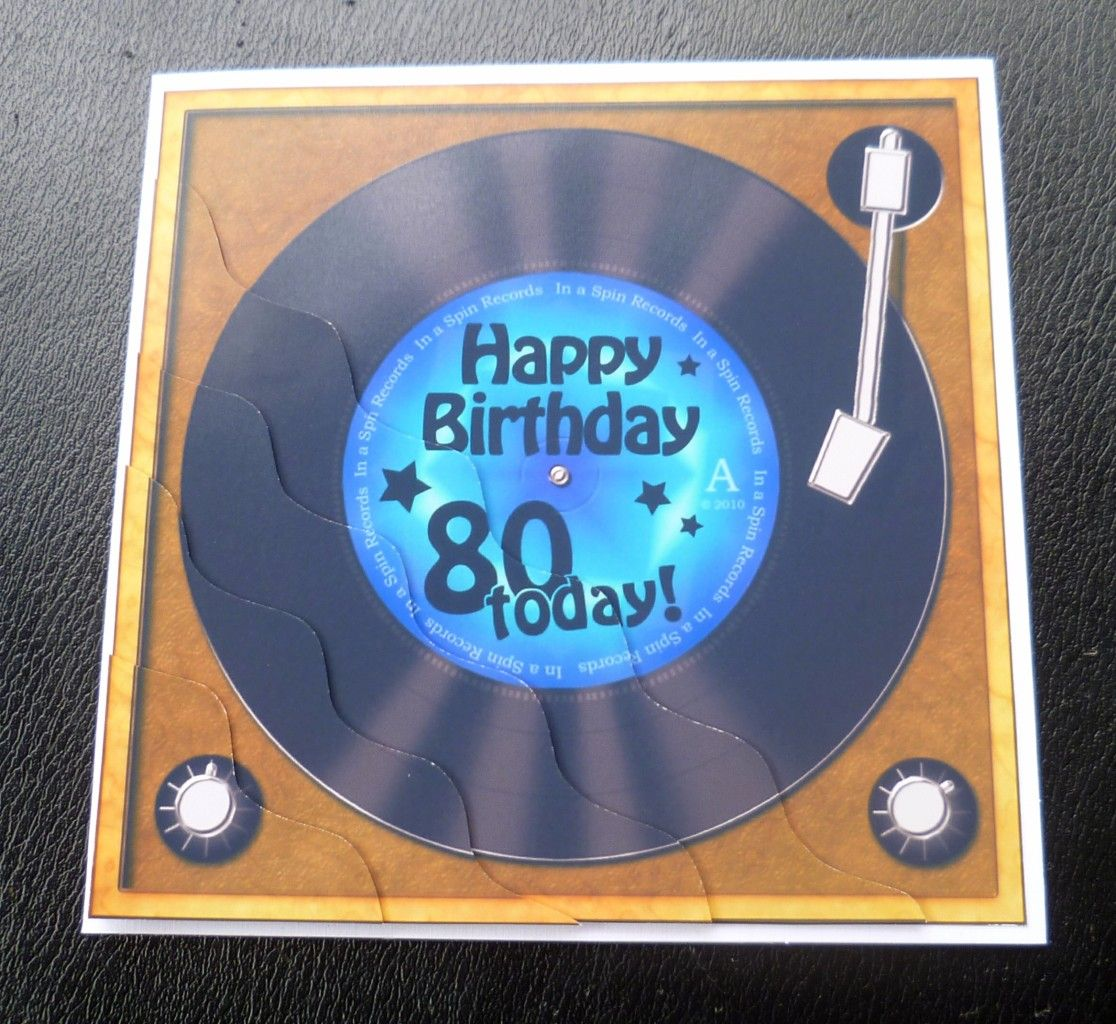 80th Record Player Birthday Card