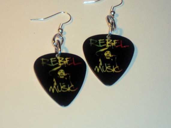 Bob Marley Guitar Pick Earrings by thejewelrydream on Etsy, $9.99