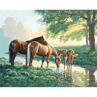 Dimensions 16×20 Paint By Number Kit – Horses by the Stream « Blast Groceries