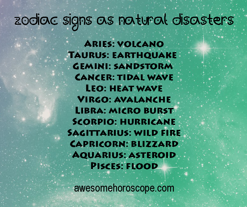 Zodiac Signs As Natural Disasters Astrology Zodiac Quotes Zodiac