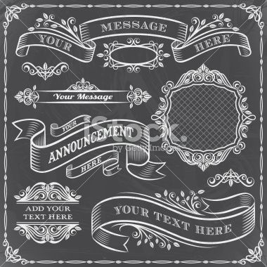 vintage frames banners ribbons and ornamental elements done in a