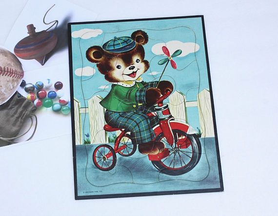 Hey, I found this really awesome Etsy listing at https://www.etsy.com/listing/526431889/boy-bear-cardboard-puzzle-vintage