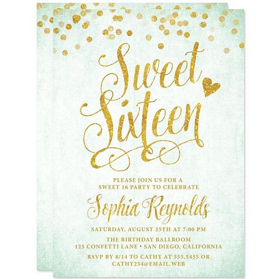 mint gold confetti sweet sixteen invitations printed invitations