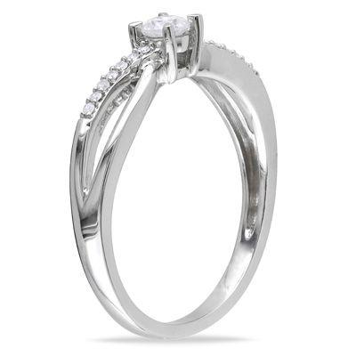1/4 CT. T.W. Diamond Split Shank Promise Ring in 10K White Gold - Zales