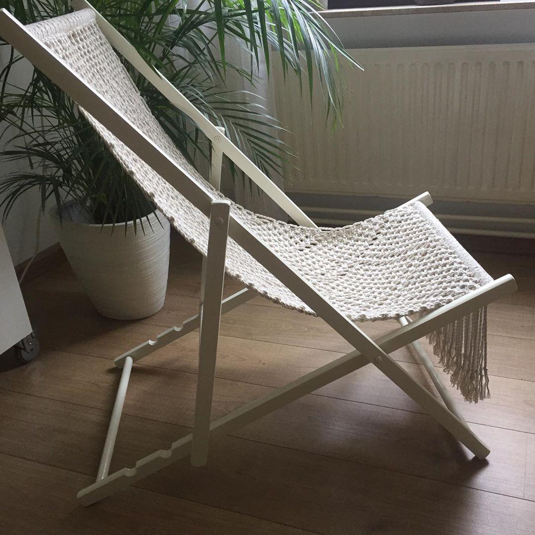 Francine Hendrix On Instagram Beach Chair Handmade Macrame And Patten Designed By Artifar Let Summer Come Soon Soon In Strandstoelen Macrame Wit Hout