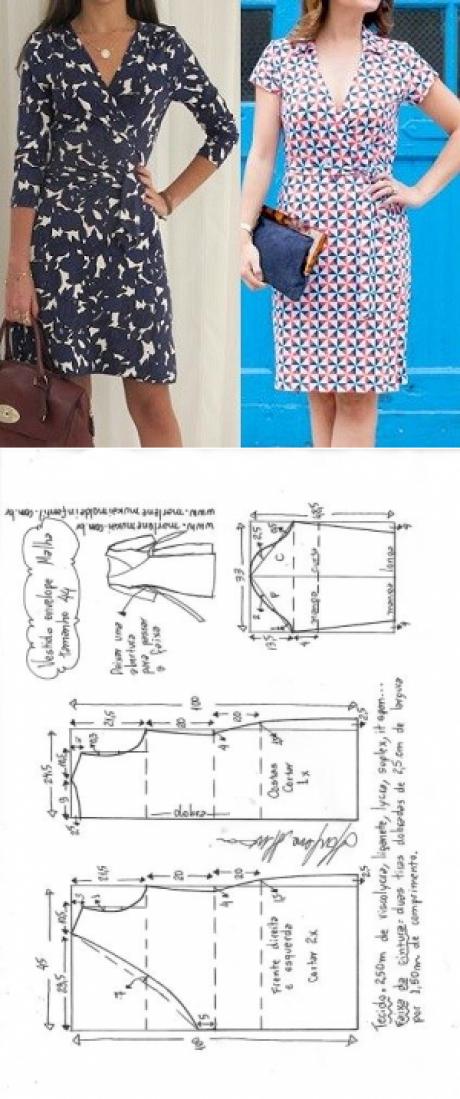Vestido envelope para malha | DIY - molde, corte e costura - Marlene ...