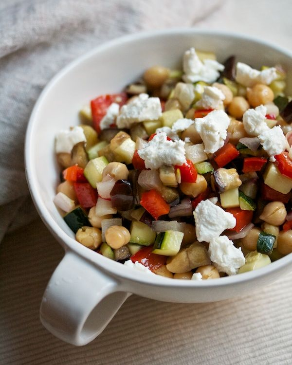 Roasted Caponata Salad with Chickpeas & Goat Cheese – via Big Girls Small Kitchen