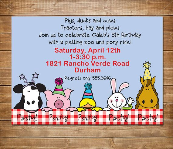 Awesome Petting Zoo Birthday Party Invitations